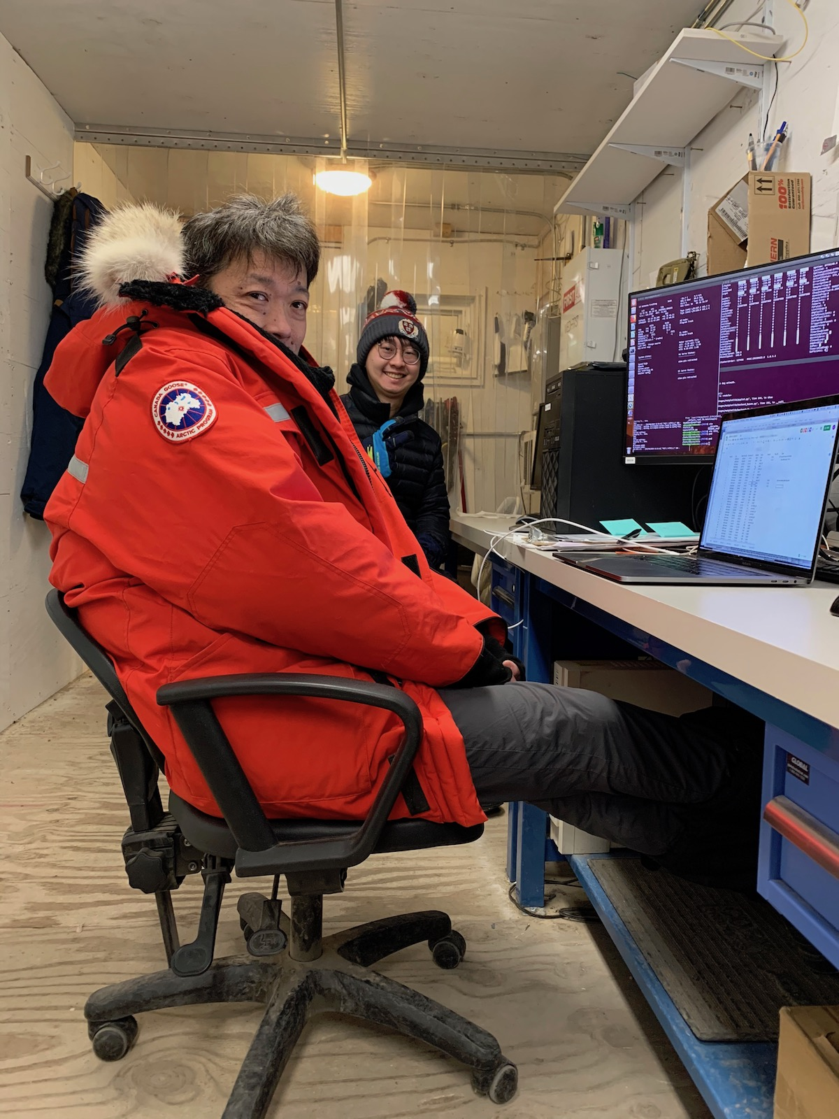 My colleagues in the control room of the Greenland telescope.